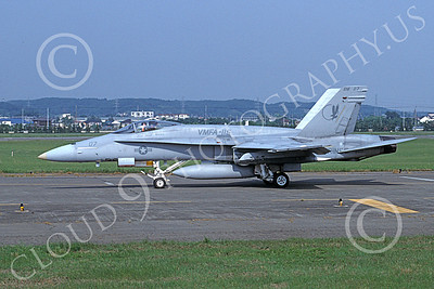 F-18USMC 00157 A taxing McDonnell Douglas F-18 Hornet USMC 163147 VMFA-115 SILVER EAGLES Yokota 5-1998 military airplane picture by Masanori Ogawa