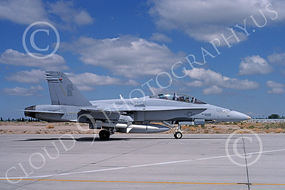 F-18USMC 00169 A taxing McDonnell Douglas F-18D Hornet USMC 164667 VMFA(AW)-121 GREEN KNIGHTS with missile NAS Fallon 7-1994 military airplane picture by Michael Grove, Sr