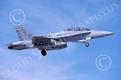 F-18USMC 00190 A landing McDonnell Douglas F-18D Hornet USMC VMFA(AW)-224 FIGHTING BENGALS 2-2006 military airplane picture by Michael Grove, Sr
