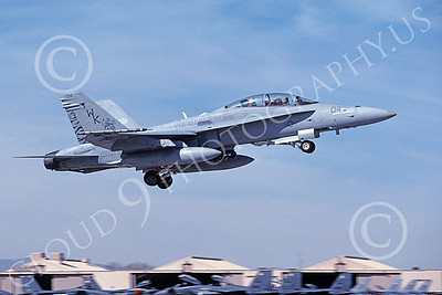 F-18USMC 00192 A flying McDonnell Douglas F-18D Hornet USMC VMFA(AW)-224 FIGHTING BENGALS Nellis AFB 2-2006 military airplane picture by Michael Grove, Sr