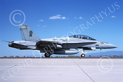F-18USMC 00171 A taxing McDonnell Douglas F-18D Hornet USMC 164245 VMFA(AW)-121 GREEN KNIGHTS NAS Fallon 5-1993 military airplane picture by Michael Grove, Sr