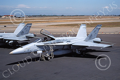 F-18USMC 00133 A static McDonnell Douglas F-18 Hornet USMC 1637780 VMFA-232 RED DEVILS 4-1997 military airplane pictures by Michael Grove, Sr