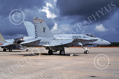 F-18USMC 00153 A static McDonnell Douglas F-18 Hornet USMC VMFA-115 SILVER EAGLES  6-2009 military airplane picture by David F Brown