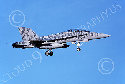 F-18USMC 00162 A landing McDonnell Douglas F-18D Hornet USMC 164884 VMFA(AW)-224 FIGHTING BENGALS 6-2002 military airplane picture by Michael Grove, Sr
