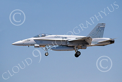 F-18USMC 00158 A landing McDonnell Douglas F-18 Hornet USMC 163450 VMFAT-101 SHARPSHOOTERS 9-2002 military airplane picture by Michael Grove, Sr