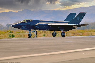 F-35C-USMC-VMFA-314 0002 A Lockheed-Martin F-35C Lightning II USMC stealth jet fighter VMFA-314 BLACK KNIGHTS VW tail code taxing for take off at NAS Fallon 9-2021, military airplane picture by Peter J  Mancus  852_0412  T