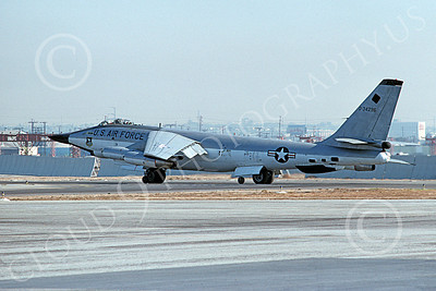 B-47USAF 00021 A taxing Boeing RB-47H Stratojet USAF F-111 nose test aircraft LAX 21 Nov 1975 airplane picture by A Hansen