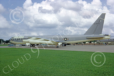 B-52 00093 A static bare metal USAF SAC Boeing B-52B Stratofortress jet bomber 28711 12-1967, by Peter B Lewis