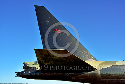 TAILS 00009 Tail of a Boeing B-52D Stratofortress USAF Cold War and Vietnam War strategic bomber veteran military airplane picture by Peter J  Mancus