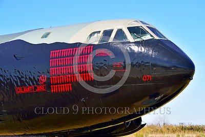 """MMM 00004 An impressive number of mission markings on a USAF Boeing B-52D Stratofortress strategic bomber named """"CALAMITY JANE"""" military airplane picture by Peter J  Mancus"""