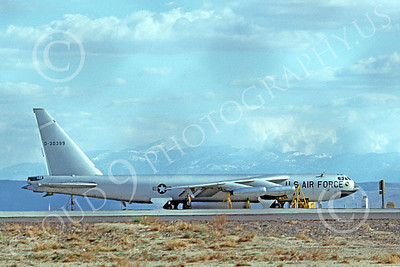 B-52 00097 A static bare metal USAF Boeing B-52 Stratofortress jet bomber 30399 6-1975, by Clay Jansson