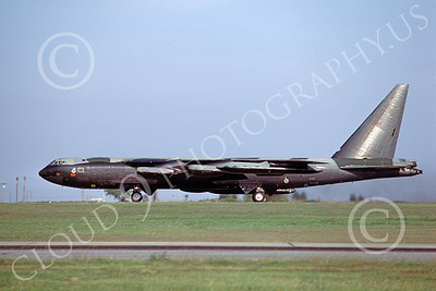 B-52 00147 A landing USAF Boeing B-52D Stratofortress jet bomber 50111 4-1980, by Peter B Lewis