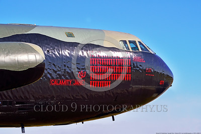 """MMM 00005 An impressive number of mission markings on a USAF Boeing B-52D Stratofortress strategic bomber named """"CALAMITY JANE"""" military airplane picture by Peter J  Mancus"""