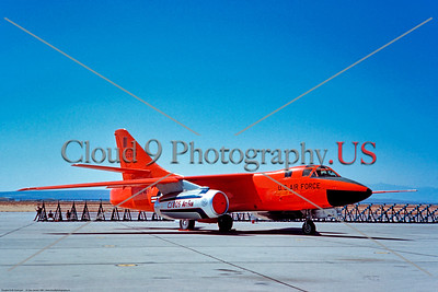 B-66 005 A static colorful, orange, Douglas B-66 Destroyer USAF jet bomber, 22828, with test engine 6-1961 Edwards AFB, military airplane picture by Clay Janson     Dt