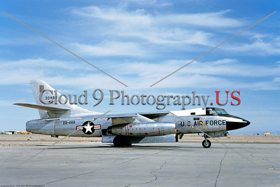 B-66 001 A static, clutter free, silver, Douglas USAF B-66 Destroyer Cold War era medium twin engine jet bomber, 30488, BB-488, 3-1965, military airplane picture by Clay Janson     Dt