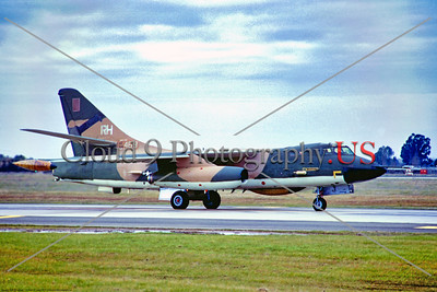 B-66 006 A taxing camouflage Douglas USAF B-66 Destroyer, 54469 RH tail code, Cold War era medium twin engine jet bomber, 544690 RH tail code, McClellan AFB 1970, military airplane picture by Peter B  Lewis     Dt tif