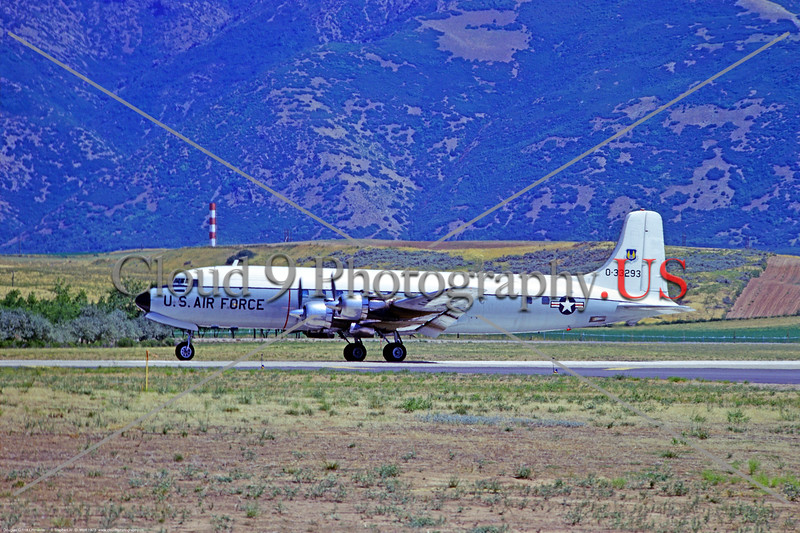 C-118USAF 001 A taxing Douglas VC-118A Liftmaster USAF 0-33293 Hill AFB 8-1973 military airplane picture by Stephen W  D  Wolf     BBB_2316     DWT