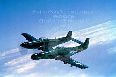 F-82 00005 A flying, black color scheme, USAF North American F-82 Twin Mustang night fighter, military airplane picture, Official USAF Picture