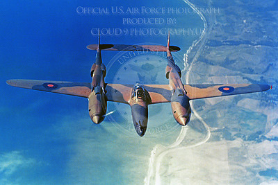 P-38 00010 An in-flight view of a British RAF Lockheed P-38 Lightning over a coastline, militay airplane picture, Official USAF Picture