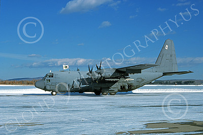 AC-130USAF 00021 A Lockheed AC-130H Spectre USAF 69575 taxis in snow 1-1978 military airplane picture by Ronald McNeil