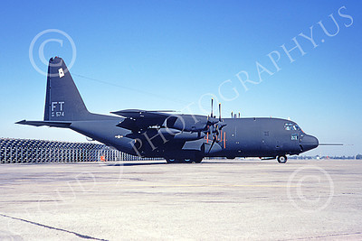 AC-130USAF 00031 A static Lockheed AC-130H Spectre USAF 69574 FT code McClellan AFB 1-1975 military airplane picture by Douglas D Olson