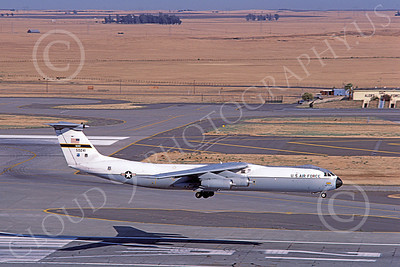 C-141BUSAF 00018 A landing Lockheed C-141B StarLifter USAF 50241 Travis AFB 7-1985 military airplane picture by Carl Porter