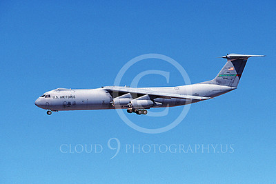 C-141BUSAF 00012 A landing Lockheed C-141B Starlifter USAF 38082 AMC 3-1997 military airplane picture by Michael Grove, Sr