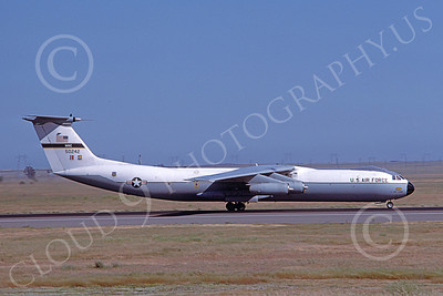 C-141BUSAF 00015 A landing Lockheed C-141B StarLifter USAF 50242 Travis AFB 7-1985 military airplane picture by Carl Porter