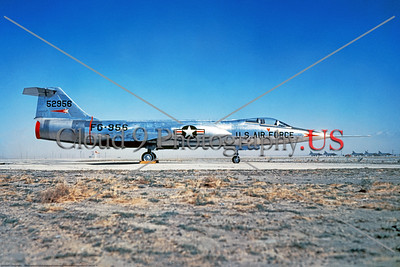 F-104USAF 0033 A static bare metal early Lockheed F-104 Starfighter, USAF jet fighter, 52956, at Edwards AFB, official Lockheed Aircraft photograph produced by Cloud 9 Photography     DT copy