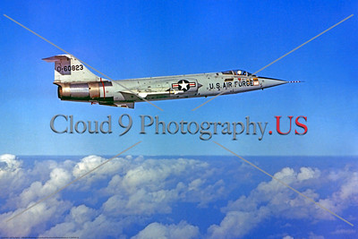 F-104USAF 0026 A flying Lockheed F-104 Starfighter USAF jet fighter 60823, official USAF photograph produced by Cloud 9 Photography     DT copy