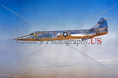 F-104USAF 0024 A wonderful flying Lockheed F-104 Starfighter USAF 60883 airplane picture, official Lockheed Aircraft photograph produced by Cloud 9 Photography     DT copy