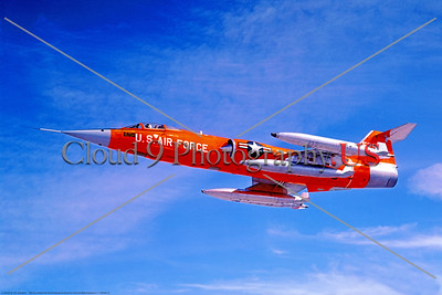 F-104USAF 0032 A flying Lockheed QF-104 Starfighter USAF drone target, 52957, official Lockheed Aircraft photograph produced by Cloud 9 Photography     DT copy