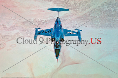 F-104USAF 0018 A Lockheed F-104 Starfighter USAF Cold War era jet fighter flying over desert, official Lockheed Aircraft photograph produced by Cloud 9 Photography     DT copy