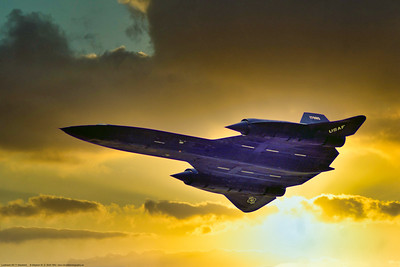 SR-71 004 A dramatic sunset picture of a flying Lockheed SR-71A Blackbird, USAF strategic supersonic high altitude recon spy plane, 17980 9th SRW, 7-1983 Greenham Common, military airplane picture by Stephen W  D  Wolf   GGG_2326  Dt