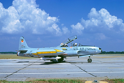 T-33USAF 00037 A taxing Lockheed T-33 Shooting Star USAF jet trainer 70708 49th FIS Tyndall AFB 10-1980 military airplane picture by Peter J Mancus     DONEwt copy