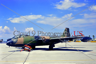 B-57USAF 00002 A static Martin B-57C Canberra USAF jet bomber 53856 1st TFW FS tail code MacDill AFB 8-1971 military airplane picture by Stephen W  D  Wolf     853_6039     DoneWT