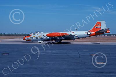B-57USAF 00013 A taxing gray-orange USAF Martin B-57 Canberra 54280 BICENTENNIAL Tyndall AFB 11-1976, by L B Sides