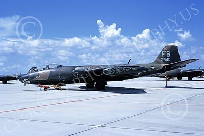 B-57USAF 00033 A static brown-black USAF Martin B-57 Canberra 533840 FS code MacDill AFB 9-1971 by L B Sides