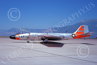 B-57USAF 00007 A static bare metal orange trim USAF Martin B-57 Canberra 333966 10-1968 military airplane picture by Douglas D Olson