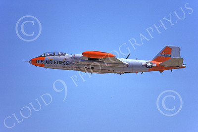 B-57USAF 00008 An in-flight gray-orange USAF Martin B-57 Canberra 54263 6-1975, by Michael Grove, Sr