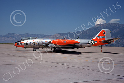 B-57USAF 00011 A static bare metal orange trim USAF Martin B-57 Canberra 54280 10-1968, by Douglas D Olson