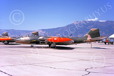 B-57USAF 00021 A static brown USAF Martin B-57 Canberra 54238 with orange tip tanks 9-1968, by Douglas D Olson