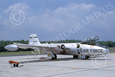 B-57USAF 00005 A static bare metal USAF Martin RB-57C Canberra 533857 9-1969 military airplane picture by Clay Jansson