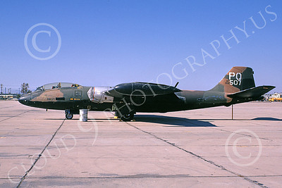 B-57USAF 00027 A static brown-black USAF Martin B-57B Canberra 52507 PQ code DM-AFB 3-1972 by Ben Knowles, Jr