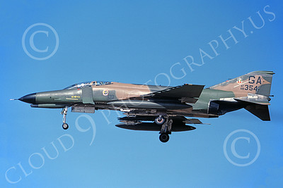 F-4USAF 00014 A landing McDonnell Douglas F-4E Phantom II USAF 68354 GA code 8-1982 military airplane picture by Michael Grove, Sr