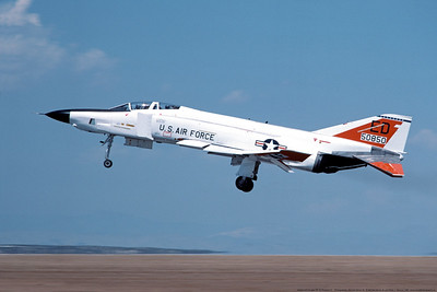 RF-4C-USAF-6512TESTS 002 A landing red and white McDonnell Douglas RF-4C Phantom II USAF recon jet fighter 50850 6512TESTS 6510TW ED tail code Edwards AFB 3-1984 military airplane picture by Michael Grove, Sr      Dwt