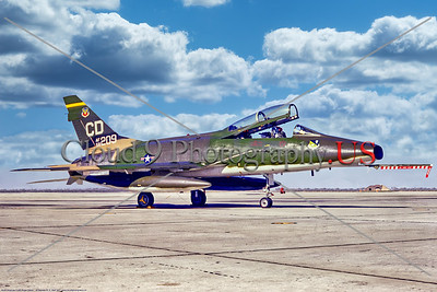 F-100-USAF-22 TTRW 001 A static North American F-100F Super Sabre, USAF 58209, a Cold War era supersonic jet fighter, 22 TTRW, 4-1971 George AFB, military airplane picture by Stephen W  D  Wolf     11A_2928     Dt
