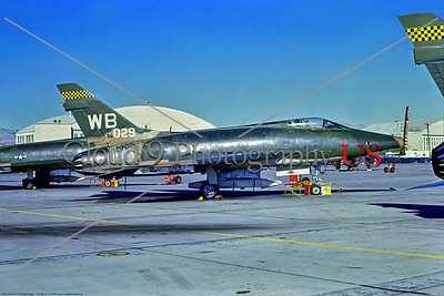 F-100-USAF-WB-57 FWW 001 A static North American F-100D Super Sabre, USAF 56029, a Cold War era supersonic jet fighter, 11-1968 Nellis AFB, military airplane picture by Stephen W  D  Wolf     11A_6087     Dt
