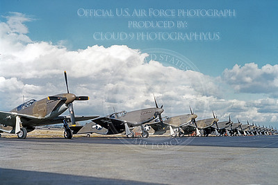 P-51 00001 A line up of approximately 24 early model US Army Air Corps North American P-51 Mustangs, military airplane picture, Official USAF Picture