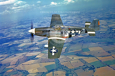 P-51 00016 A flying early model North American P-51 Mustang, with ten German kills, over Southern England during WWII, military airplane picture, Official USAF Picture